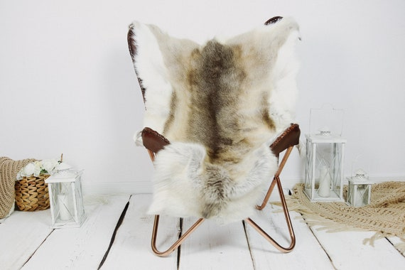 Reindeer Hide | Reindeer Rug | Reindeer Skin | Throw XXL EXTRA LARGE - Scandinavian Style Christmas Decor Brown White Hide #Kre11