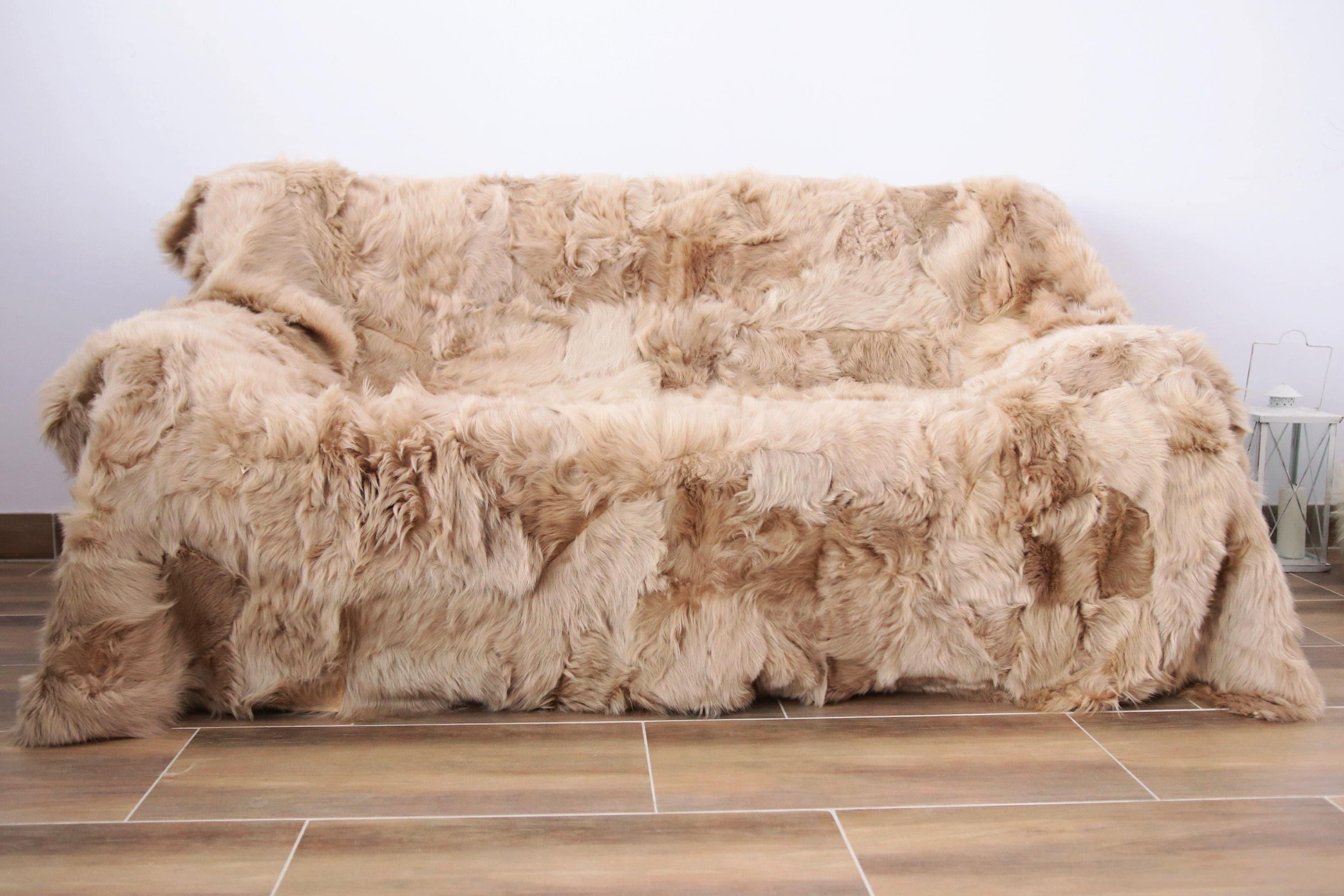 Charmant Real Sheepskin Toscana Blanket Throw, Champagne Fur Sofa Throw,  Scandinavian Decoration, Throws For Sofa, Sofa Throws, Luxury Throws