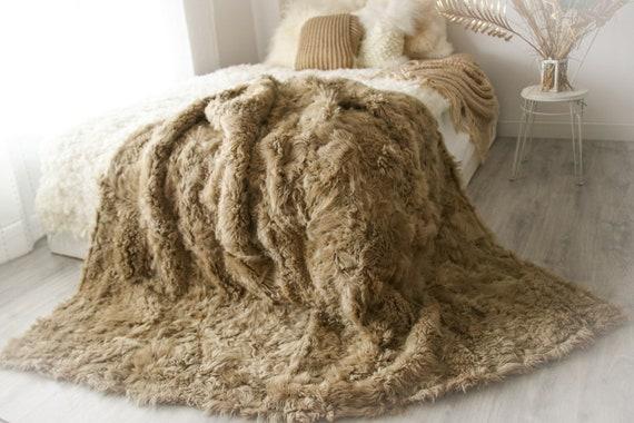 Luxurious Patchwork Toscana Sheepskin Real Fur Throw | Real Fur Blanket | Sheepskin throw | Boho Throw |2FU5
