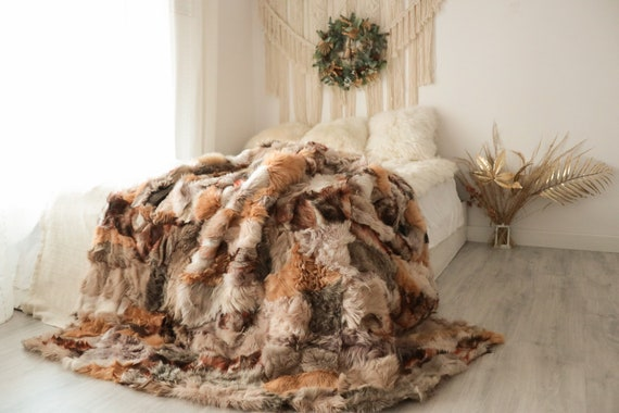 Luxurious Patchwork Toscana Sheepskin Real Fur Throw | Real Fur Blanket | Sheepskin throw | Boho Throw  | FUFU11