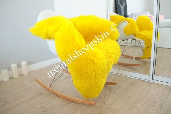 Genuine Natural Yellow Sheepskin Rug Sheepskin Throw  Scandinavian Style | Scandinavian Rug | Yellow Sheepskin