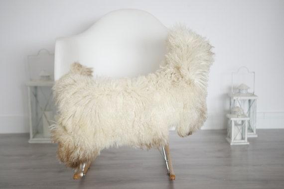 Genuine Rare Tuscan Lamb Sheepskin Rug - Curly Fur Rug - Natural Sheepskin - Ivory Brown Sheepskin | Small Sheepskin #5margot10