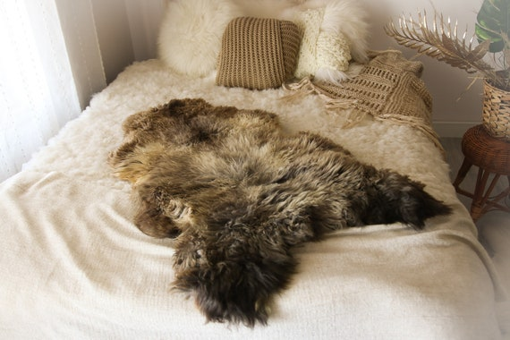 Real Sheepskin Rug Shaggy Rug Chair Cover Sheepskin Throw Sheep Skin Brown Gray Sheepskin Home Decor Rugs #OCTHER68