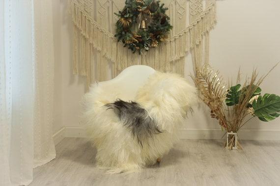 Real Icelandic Sheepskin Rug Scandinavian Decor Sofa Sheepskin throw Chair Cover Natural Sheep Skin Rugs Ivory Gray #Iceland83