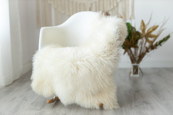 Real Sheepskin Rug Genuine Rare Mongolian Sheepskin Rus - Curly Fur Rug Scandinavian Sheep skin - Ivory Brown Curly Sheepskin #6Margot6