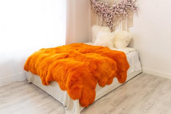 Genuine Natural Orange Merino Sheepskin Rug, Pelt Giant Sheepskin Rug, Large Sheepskin Rug Sheepskin throw Orange Sheep Skin Orange Blanket