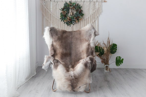 Reindeer Hide | Reindeer Rug | Reindeer Skin | Throw XXL EXTRA LARGE - Scandinavian Style Christmas Decor Brown White Hide #Pre2
