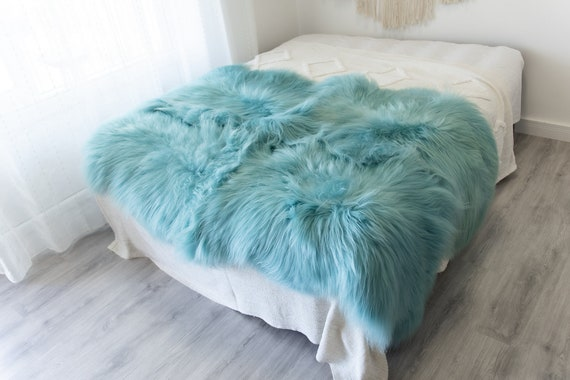 Quad Baby Blue Sheepskin Rug | Long rug | Shaggy Rug | Chair Cover | Area Rug | Baby Blue Rug | Carpet | Baby Blue Throw | Sheep Skin