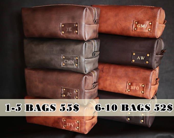 Men's Leather Toiletry Bag Case Dopp Kit Shaving Bag Ooak Set for Groomsmen Present Gift for him EXPRESS WORLDWIDE SHIPPING!