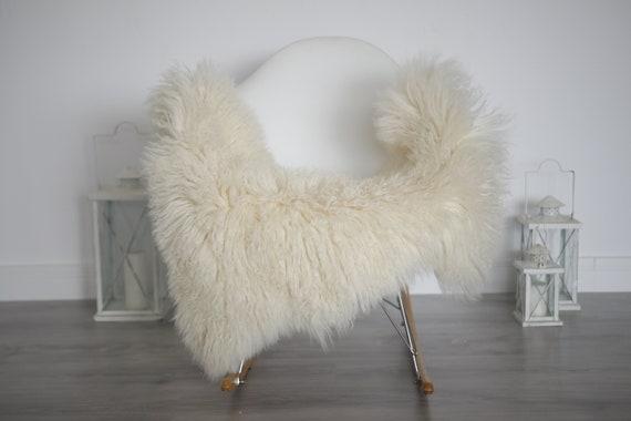 Genuine Rare Tuscan Lamb Sheepskin Rug - Curly Fur Rug - Natural Sheepskin - Ivory Sheepskin | Small Sheepskin #5margot18