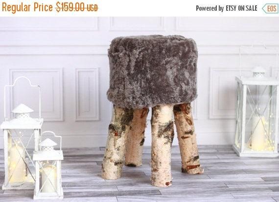 ON SALE Sheepskin stool | Birch Tree Stool | Wood Stool | Fur Stool | Dressing Stool | Wooden Stool | Scandinavian Stool