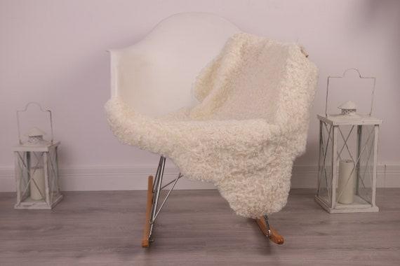 Real Sheepskin Rug Genuine Rare Gotland Sheepskin Rus - Curly Fur Rug Scandinavian Sheepvskin - White Sheepskin #4Margot24