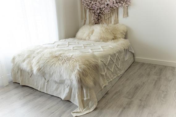 Double Ivory Icelandic Sheepskin Rug | Long rug | Shaggy Rug | Chair Cover | Area Rug | Ivory Rug | Carpet | Ivory Sheepskin Icelandic Beige
