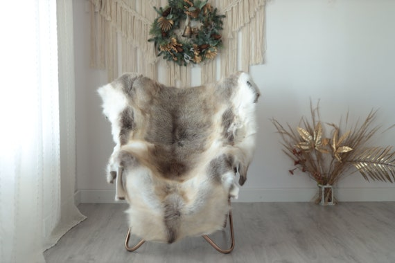 Reindeer Hide | Reindeer Rug | Reindeer Skin | Throw XXL EXTRA LARGE - Scandinavian Style Christmas Decor Brown White Hide #Wre2
