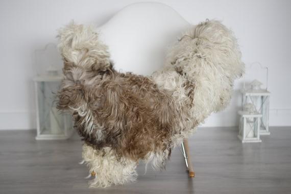 Genuine Rare Tuscan Lamb Sheepskin Rug - Curly Fur Rug - Natural Sheepskin - Ivory Brown Sheepskin | Small Sheepskin #5margot7
