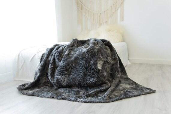 Luxurious Patchwork Toscana Sheepskin Real Fur Throw Real Fur Blanket   Sheepskin throw   Sheepskin Blanket Boho Throw Gray #FuFu102