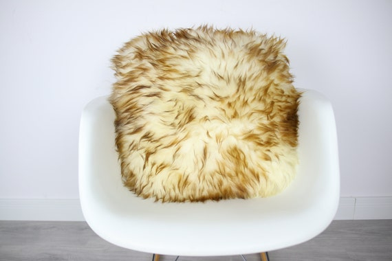 Sheepskin Fur Pillow, Real fur pillow, Brown mouflon fur pillow, Square sheepskin pillow, Brown pillow, scandinavian pillow, Both side fur