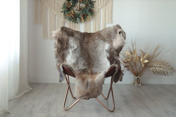 Reindeer Hide | Reindeer Rug | Reindeer Skin | Throw XXL EXTRA LARGE - Scandinavian Style Christmas Decor Brown White Hide #Wre15