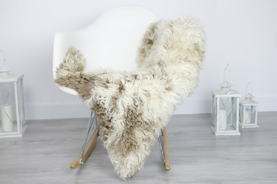 Real Sheepskin Rug Shaggy Rug Chair Cover Sheepskin Throw Sheep Skin Brown Sheepskin Home Decor Rugs #7her43