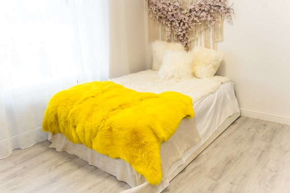 Triple Yellow Merino Sheepskin Rug | Long rug | Shaggy Rug | Chair Cover | Area Rug | Yellow Rug | Carpet | Yellow Throw | Sheep Skin
