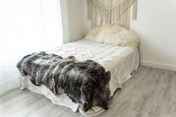 Double Gray White Sheepskin Rug | Long rug | Shaggy Rug | Chair Cover | Area Rug | Blue Rug | Carpet | Gray Throw | Sheep Skin 4POL13