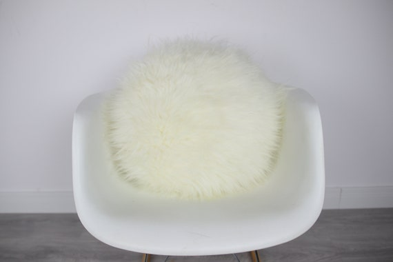 Sheepskin Fur Pillow, Real fur pillow, Round fur pillow, Round sheepskin pillow, White round pillow, scandinavian pillow, Both side fur