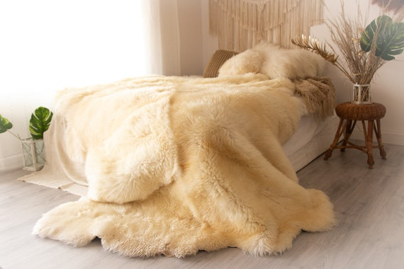 Real Fur Sheepskin Throw | Super Large | Sheepskin Rug | Boho Blanket | Merino Deca Sheepskin