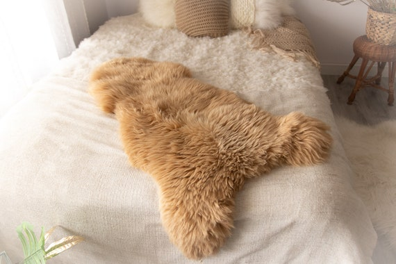Sheepskin Rug | Real Sheepskin Rug | Shaggy Rug | Chair Cover | Sheepskin Throw | Beige Sheepskin | Sandy Sheepskin | #MIESZ5