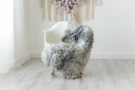Real Sheepskin Rug Genuine Rare Gotland Sheepskin Rus - Curly Fur Rug Scandinavian Sheep skin - Gray White Sheepskin #G7