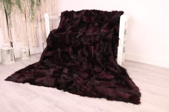 Luxurious Toscana Sheepskin Real Fur Bed Spread Throw Real Fur Blanket Sheepskin throw Sofa Cover Luxury Blanket Comforter Purple Fu29