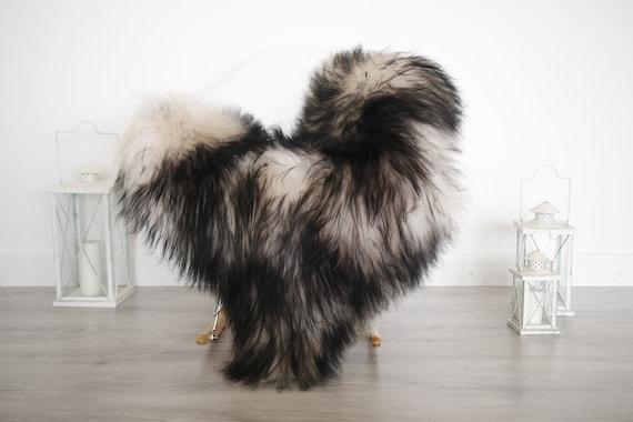 Real Icelandic Sheepskin Rug Pelt soft long fur Large Sheep Skin - Mouflon Black Sheepskin Throw Sheep skin Black Tips Cover Scandinavian