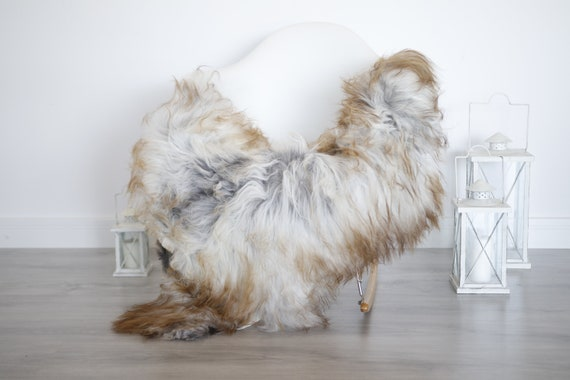 Real Icelandic Sheepskin Rug Scandinavian Decor Sofa Sheepskin throw Chair Cover Natural Sheep Skin Rugs Gray Blanket Fur Rug #isleb7
