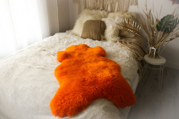 Real Sheepskin Genuine Natural Orange Sheepskin Rug Throw  Scandinavian Style Rug Sheepskin throw Chair Cover Natural Sheep Skin Rugs