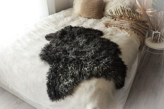 Real Sheepskin Rug Genuine Rare Gotland Sheepskin Rus - Curly Fur Rug Scandinavian Sheep skin - Gray Brown Curly Sheepskin #2Bohgot2