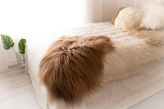 Real Icelandic Sheepskin Rug Scandinavian Decor Sofa Sheepskin throw Chair Cover Natural Sheep Skin Rugs Blonde Blanket Fur Rug #KWAISL5