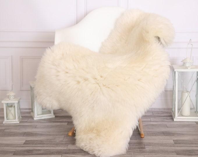 Sheepskin Rug | Real Sheepskin Rug | Shaggy Rug | Scandinavian Rug | | SCANDINAVIAN DECOR | White Beige Sheepskin  #MIHER14