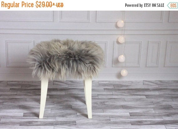 ON SALE Gray Stool Cover | Sheepskin Stool Cover | Chairl Cover | Furry Stool | Scandinavian Decor | Seat Pad | Chair Pad