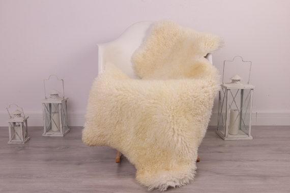 Real Sheepskin Rug Genuine Rare Gotland Sheepskin Rus - Curly Fur Rug Scandinavian Sheepvskin - Ivory White Sheepskin #4Margo5