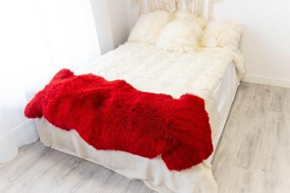 Double Red Merino Sheepskin Rug | Long rug | Shaggy Rug | Chair Cover | Area Rug | Red Rug | Carpet | Red Sheep skin Merino Red Throw