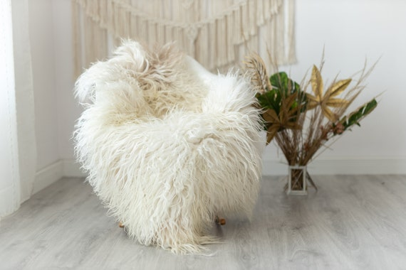 Real Sheepskin Rug Genuine Rare Mongolian Sheepskin Rus - Curly Fur Rug Scandinavian Sheep skin - Ivory Beige Curly Sheepskin #Krecisl5