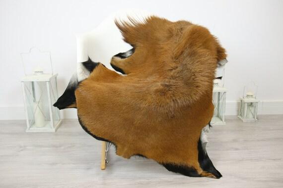 Natural real Goatskin rug, Goat Hide Goat Rug Carmel Brown #Goat26