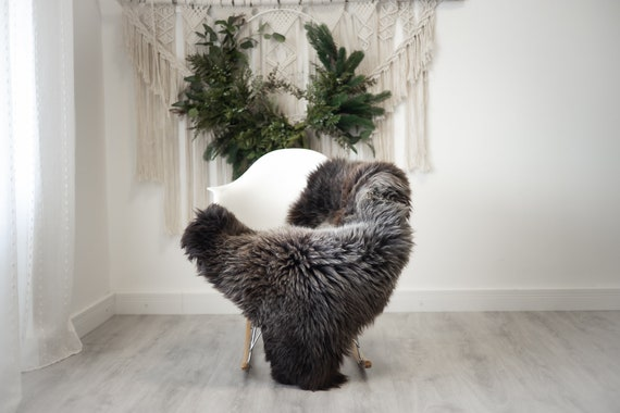 Real Sheepskin Rug Shaggy Rug Chair Cover Scandinavian Home Sheepskin Throw Sheep Skin Brown Gray Sheepskin Home Decor Rugs #herdwik370