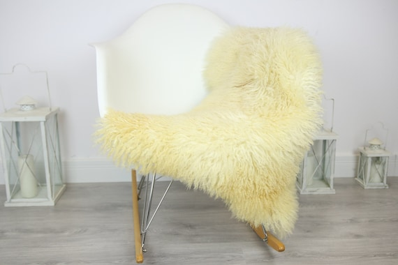 Genuine Rare Tuscan Lamb Sheepskin Rug - Curly Fur Rug - Natural Sheepskin - Ivory Sheepskin | Small Sheepskin #3MARGOT7