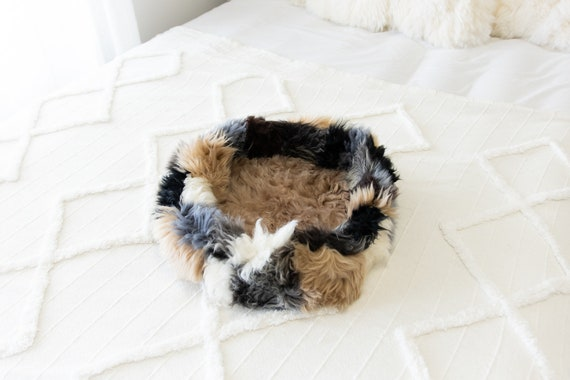 Sheepskin Cat Bed Or Dog Bed Cat Cave Unique Pet Bed Cat House Pet Furniture Hand Made With Genuine Real Sheepskin XXL Extra Large #Bed25