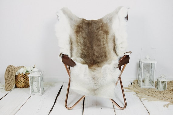 Reindeer Hide | Reindeer Rug | Reindeer Skin | Throw XXL EXTRA LARGE - Scandinavian Style Christmas Decor Brown White Hide #Kre12