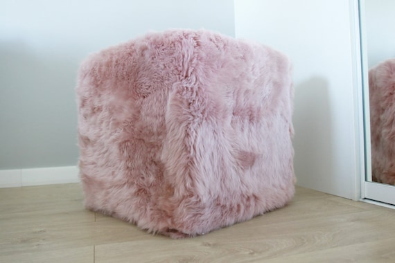Real Sheepskin Lilac Pouf, Fur Bench, Real Fur Pouf, Sheepskin Cube, Sheepskin Ottoman