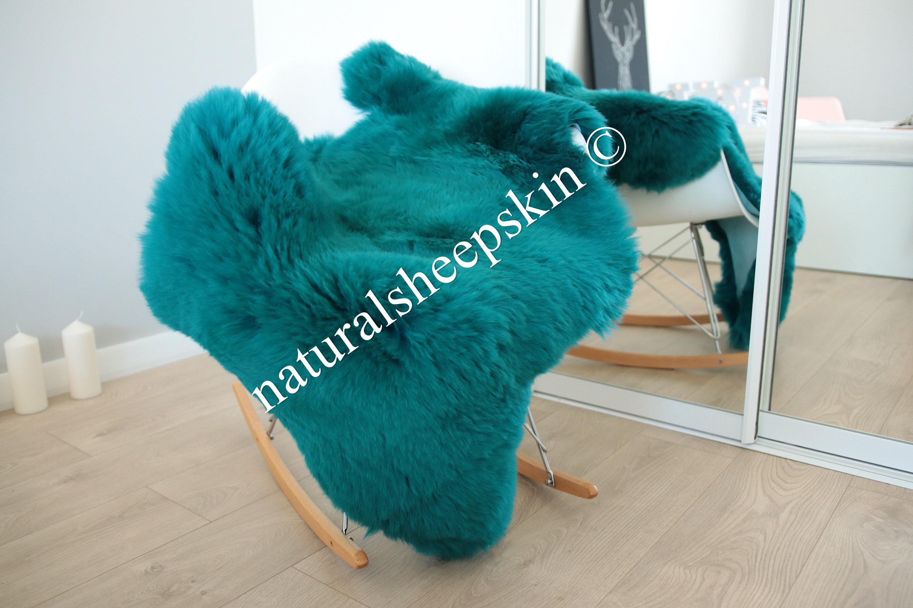 Genuine Natural Emerald Green Sheepskin Rug Sheepskin Throw Scandinavian Style Scandinavian Rug Emerald Green Sheepskin