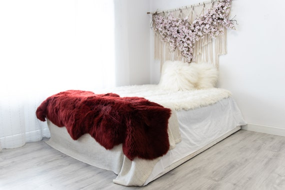 Double Vine Merino Sheepskin Rug | Long rug | Shaggy Rug | Chair Cover | Area Rug | Vine Rug | Carpet | Red Sheep skin Merino Vine Throw