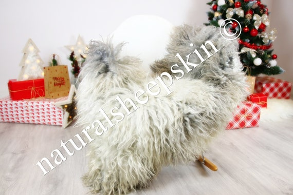 Genuine Rare Gotland Sheepskin Rug - Curly Fur Rug - Natural Sheepskin - Gray  Sheepskin #CHRISTGOT7