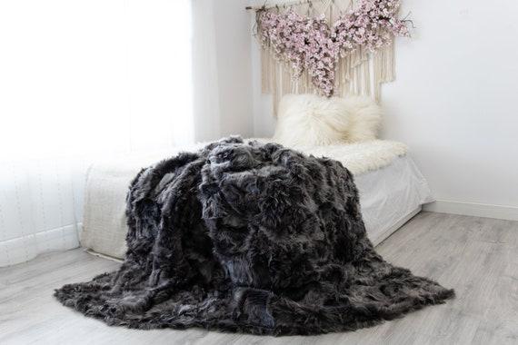 Luxurious Patchwork Toscana Sheepskin Real Fur Throw | Real Fur Blanket | Sheepskin throw | Sheepskin Blanket | Boho Throw |FuFu48